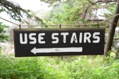 'Use Stairs' sign at the 'Lookout', Cutler Coast Public Lands, Cutler, Maine.